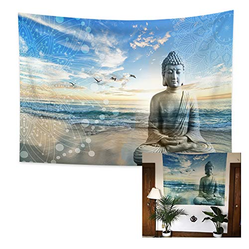 Yongto 59.1x39.4 Inches Buddha Tapestry Bohemian Peaceful Buddha with Ocean Sea Tapestry Zen Tapestry Wall Hanging for Bedroom Living Room Decor