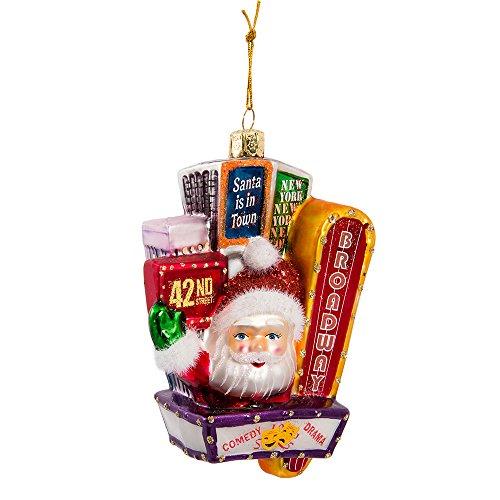 Kurt Adler Santa on Broadway Glass Ornament, 5-Inch