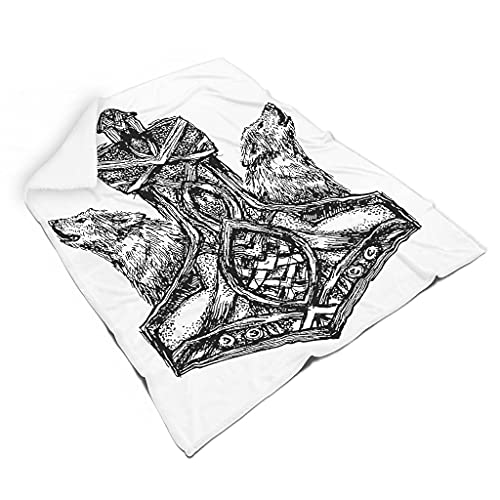 Magiböes Franela vikinga Odin Hammer Wolf Impresión Magie Vikingo Acurrucarse Blanco 130 x 150 cm