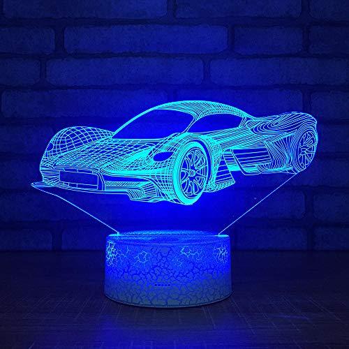 QHDHGR Lámpara de mesa de 7 colores con interruptor táctil 3D Coche de carreras visual, LED, luz de lava acrílica, iluminación de habitación, regalos