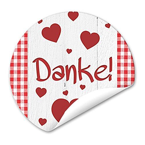 Danke, geblokte stickers, 48 ronde, rood-witte hartjes, 4 cm, zelfklevend, etiketten - verpakking, gastgeschenken, klanten, give-away cadeau, bruiloft, verjaardag, bedankkaarten, cadeaus