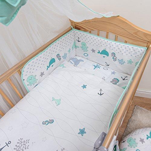6 pièces Parure de lit bébé/Taie d'oreiller, Parure de lit, Parure de lit & taies + drap housse éponge pour lit lit taille (140 x 70 cm) – Motif cœurs Blanc