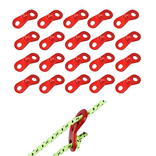 SHULLIN 20個セット アルミ自在金具 アルミニウムコードスライダー ロープテンショナー ロープ長さ調整 テント ロープ張り アウトドアキャンプ テント グッズ ロープ径φ3.0-6.5mmまで対応 (レッド)