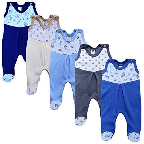 MEA BABY Unisex Strampler mit Aufdruck, Baumwolle, 5er Pack. Baby Strampler Mädchen Baby Strampler Junge (74, Jungen)
