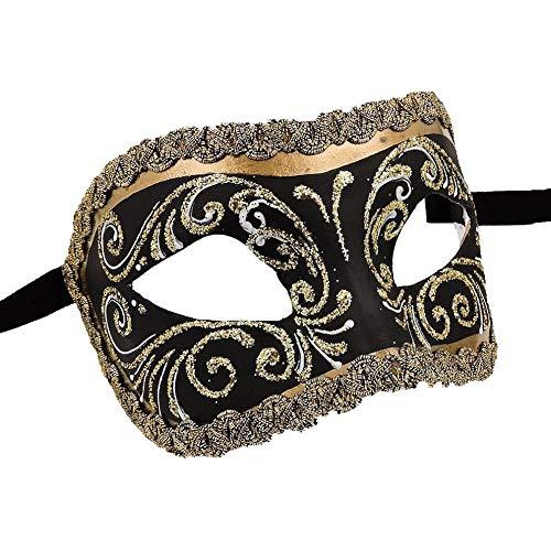 Unbespielt Handarbeit Original Venezianische Maske Damen Colombina Decor Era Gold schwarz