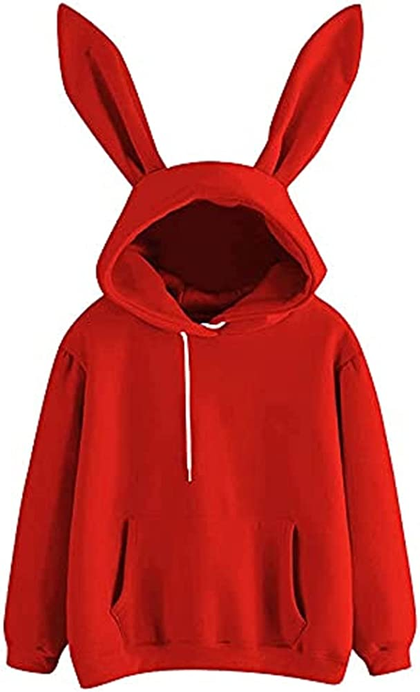 Ladies Cute Rabbit Ear Long Sleeve Hoodie Solid Color Embroidery Pullover Sweater