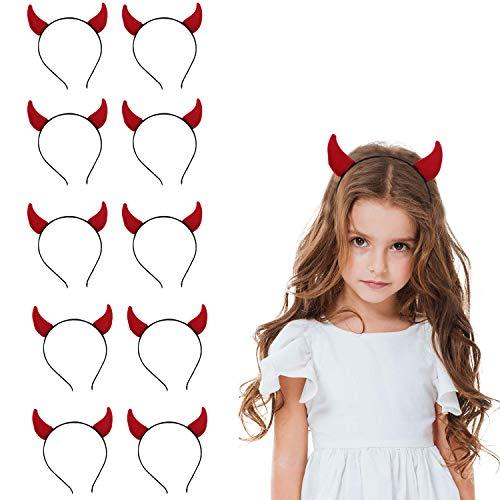 Bigbigjk 10 Stück Halloween Haarband ,Teufelshörner Haarband Horn Stirnband Damen, Halloween Deko Party Stirnband Cosplay Hair Hoop Party Headpiece Stirnband für Kinder und Täglichen Zubehör