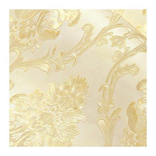 Godagoda Wand Tapete Barock Vliestapete Gold Farbe Wohnzimmer TV Hintergrund Umweltschutz Wandaufkleber ohne Kleben Deko 1xRolle 53cmx950cm (Gold)