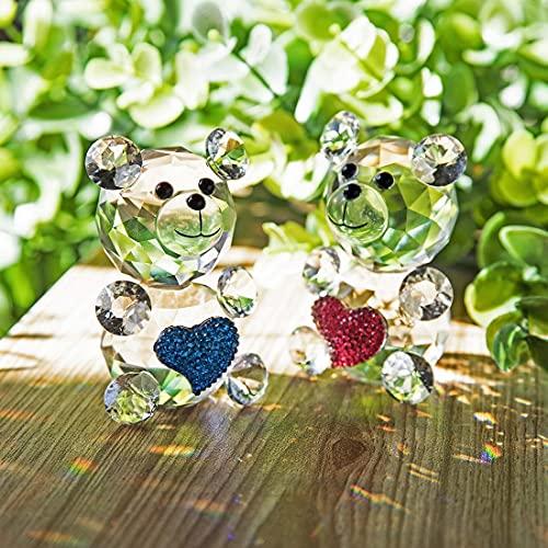 H&D Figura decorativa de cristal con diseño de oso de cristal (2...