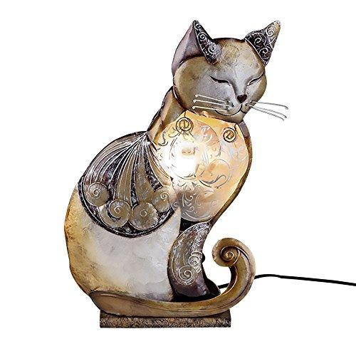 Lampe 'Katze Muschel', 35 cm, brauntöne