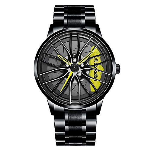 Car Wheel Watch, Stainless Steel Rim Watch with Japanese Quartz Movement, Waterproof Sports Wrist Watch, Racing Watch for Men/Car Enthusiast (Yellow)