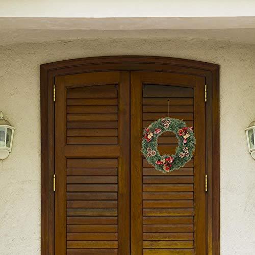 lossomly Corona de Navidad, colgante, guirnalda hecha a mano con bayas rojas y piñas de abeto, para puerta de casa, ventana, chimenea, 40 cm