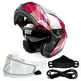 Typhoon TH158 Dual Visor Modular Full Face Snowmobile Helmet With Heated Shield, Breath Box (Red, XXL)