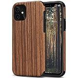 TENDLIN Kompatibel mit iPhone 11 Hülle Holz Schutzhülle & TPU Hybrid Handyhülle (Rotes Sandelholz)