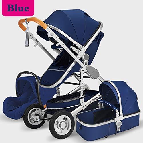 XYSQ kinderwagen Baby Trend 3 in 1, opvouwbare multifunctionele stoot- multifunctionele lichte babyspray, comfortabel zitten en liggen, baby-kinderwagen voor kinderen, zwart
