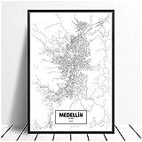 xiongda Medellin, Kolumbien Schwarz Weiß Weltstadtplan