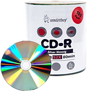 Smartbuy 100-disc 700mb/80min 52x CD-R Shiny Silver Top Blank Recordable Media Disc