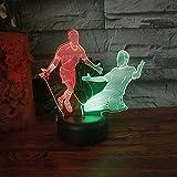 Tianyifengg 3D-LED-7 Color-Control Remoto-Noche luz-luz Jugador de fútbol Plomo decoración del hogar niños niño Regalo de cumpleaños futbolín