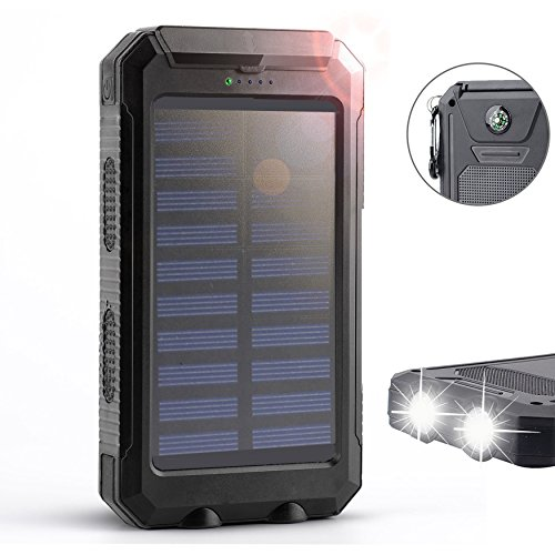Solar Charger,Solar External Battery Pack,Portable 8000mAh Dual USB Solar Battery Charger Power Bank Phone Charger with LED Portable Solar Phone Charger for Phones (Black)