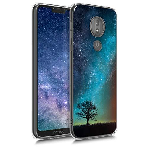 kwmobile Hülle kompatibel mit Motorola Moto G7 Power - Handyhülle - Handy Hülle Galaxie Baum Wiese Blau Grau Schwarz