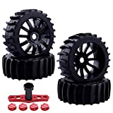 Hobbypark 17mm Hex 1/8 Paddle Sand Tires and Wheels Pre-glued Mounted with Foam Inserts for RC Buggy Running on Water Snow Beach Mud (4-Pack)