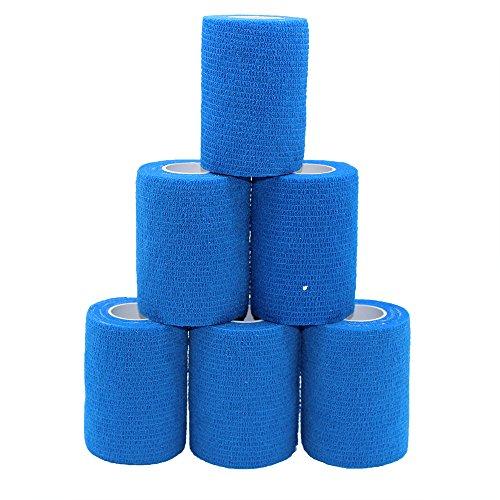 6 Rollos de Cinta de Tobillo Autoadhesiva Para Vendaje, Cinta de Deporte, Cinta Azul Cohesiva, Vendajes Adhesivos, 7,5 cm