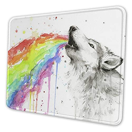 Fgfdrcd Personalisierte Mauspad, rutschfeste langlebige Wolf Rainbow Aquarell Druck Mousepad, abstrakte Tastaturunterlage für Laptop-Büro-Schreibtisch-Dekoration