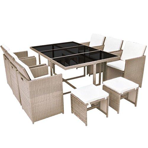 vidaXL Conjunto de Muebles de Exterior 11 Piezas Comedor de Jardín Sillas y Mesa de Porche Patio Poli Ratán Sintético Beige Estilo de Mimbre ✅