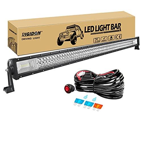 RIGIDON Barra de luz led, 50 pulgadas 648W 7D Tri fila Barras luminosas led y 12V kit de cableado, para off road camión coche ATV SUV 4x4 barco, Lámpara de conducción 6000K blanco, Led light bar