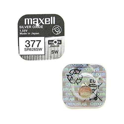 2x maxell 377SR626SW Silberoxid-Uhrenbatterien (0% Quecksilber Batterien [2Stück]
