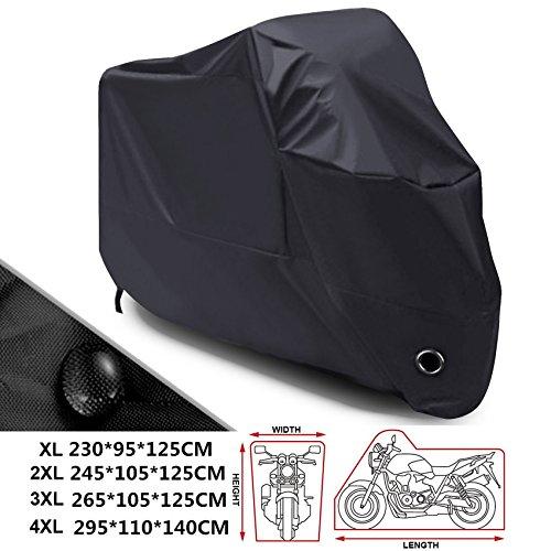 ANFTOP Talla 2XL XXL Funda para Motocicleta 210D Cubierta de Moto Scooter Interiores con Orificios de Bloqueo de Seguridad Negro