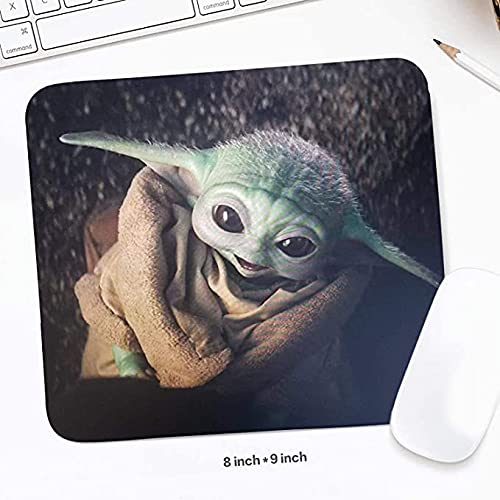 Cute Alien-Baby Gaming Mouse Pad,Rubber Base Mousepad with Stitched Edges,Cool Non-Slip Anime Mouse Mat for Desk, Computer, Laptop, Home, Office