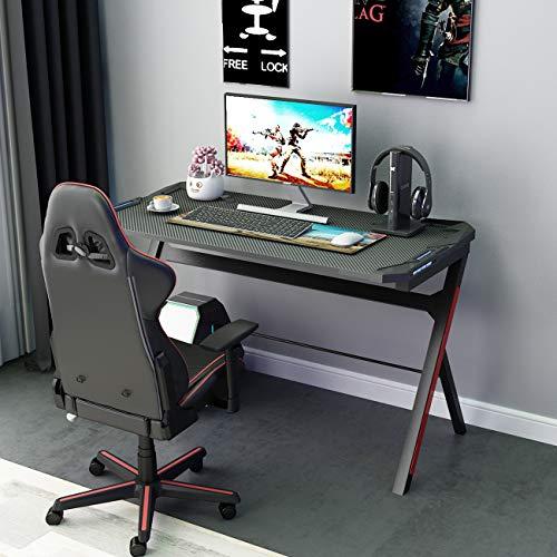 DlandHome Ergonomischer Gaming Tisch mit LED RGB, PC Schreibtisch, Computertisch, Schwarz