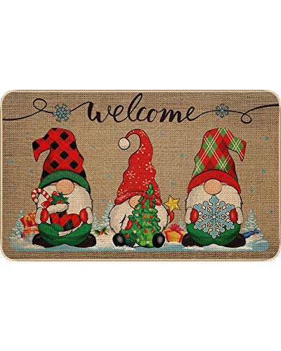Christmas Decorative Doormat Xmas Welcome Christmas Gnome Tomte Mat Non Slip and Washable Winter Doormat Rubber Back Santa Snowflakes Door Mat for Indoor Outdoor, 28 x 17 Inch