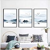 Refosian Paesaggio Paesaggio Pittura su Tela Arte Astratta Stampa Poster Immagine Parete Soggiorno Decorazione Domestica 50x70 cm / 19,6x27,5 Pollici con Cornice
