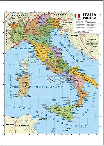 Carta geografica murale Italia 100x140 bifacciale fisica e politica