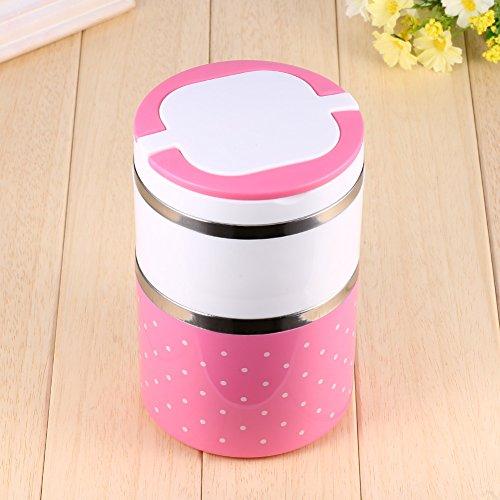 YUyankejiYX , Cubo de almuerzo con aislamiento de color, doble capa, contenedor apilable todo en uno, caja de almacenamiento de alimentos con vajilla para adultos oficina, camping, color rosa