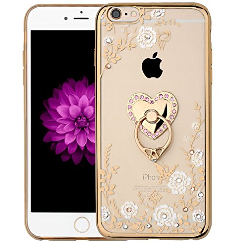 iPhone 7 Crystal TPU Flower Butterfly Case-Superstart Bling Diamond Beauty Fashion Plating Frame Soft Slim Case with Detachable Rotating Ring Stand for iPhone 7 (Gold+White)