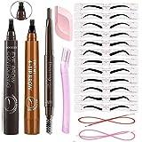 Mihqy Crayon à Sourcils & Pochoirs à Sourcils Set, Tatouage Crayon à Sourcils avec 4 conseils Imperméable,12 Styles Modèle de Sourcil, pour le Maquillage Naturel d'yeux