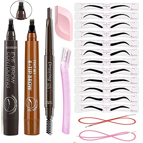 Mihqy Augenbrauenstift mit 12 Paaren Augenbrauen Schablonen -Microblading Augenbrauenstift - Wasserdicht Langanhaltend Augenbrauenstift mit 4 Fork Tips