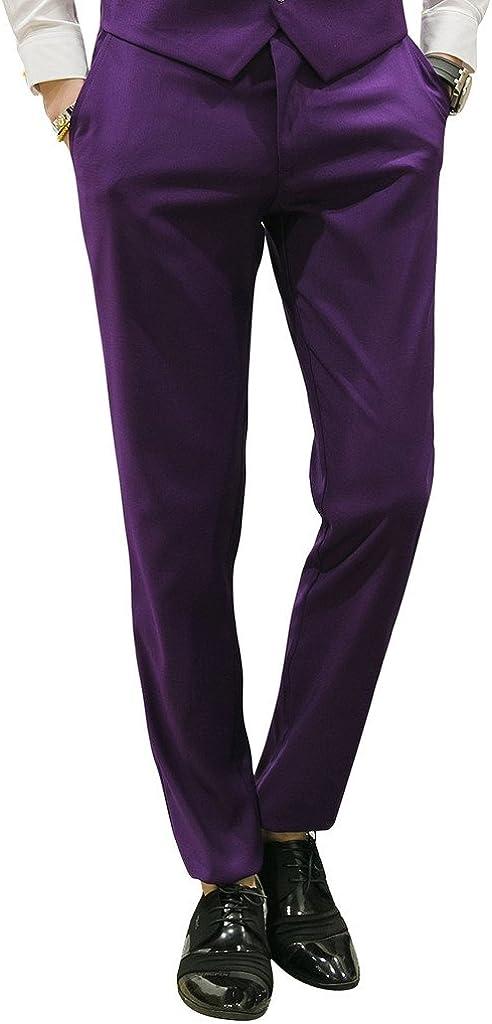 MOGU Mens Slim Fit Front Flat Casual Pants