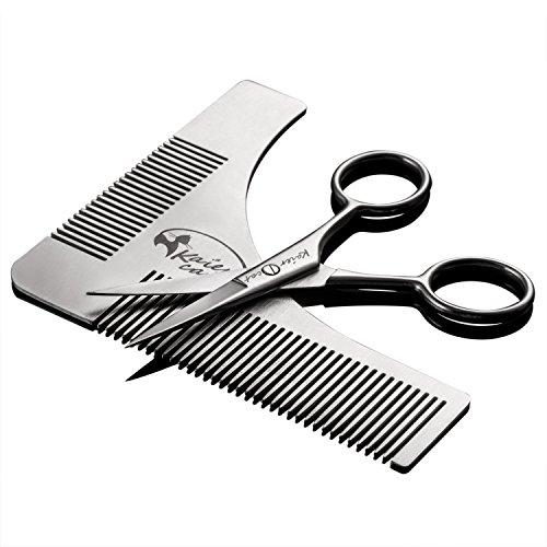Conjunto de herramienta para dar forma a la barba y tijeras de acero inoxidable para recortar y asear la barbaRegalos para el día del padre, Regalos para el hombre