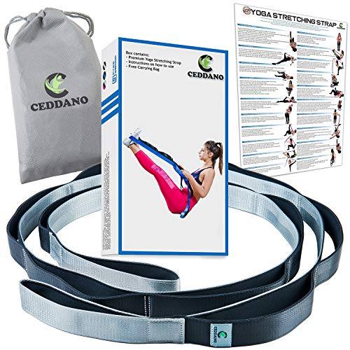 Ceddano Premium Yoga Stretching Strap with 12 Neoprene Padded Loops for Better Comfort and...