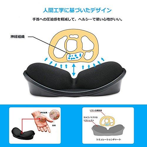 Jhuaリストレストマウス用手首クッション人間工学デザイン手首への負担を軽減腱鞘炎対策低反発ブラック