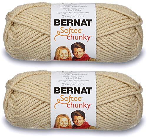 2-Pack - Bernat Softee Chunky Yarn, Linen, Single Ball