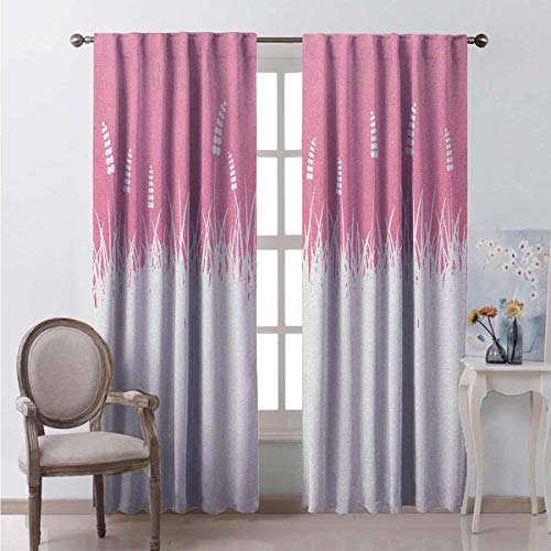 Pink 99% Blackout Curtains Field Farm Life Inspired Scene Cut into Half with Bushes and Wheat Art Print for Bedroom Kindergarten Living Room W72 x L72 Inch Hot Pink and White