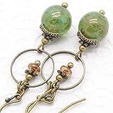 Green Dangle Earrings in Bohemian Marbled Glass