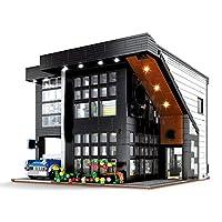 ストリートビューシリーズ、現代のコーヒーショップ建築モデル、ビルディングブロックのおもちゃを組み合わせて照明小さな粒子を含む