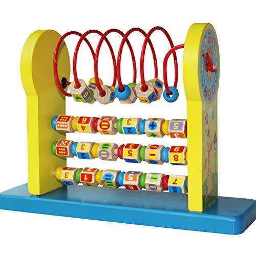 MAOJIE Juguetes Educativos 3 En 1 Abacus Bead Maze Juguetes de Madera NiñOs Cuentas de Madera Abacus EnseñAnza Relojes Juguetes Educativos Preescolares