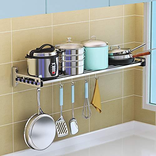 Estantes de cocina, estantes de especias montados en la pared, estantes de almacenamiento desmontables multifuncionales, para cocina y baño, acero inoxidable 304, gran capacidad de carga/Plata